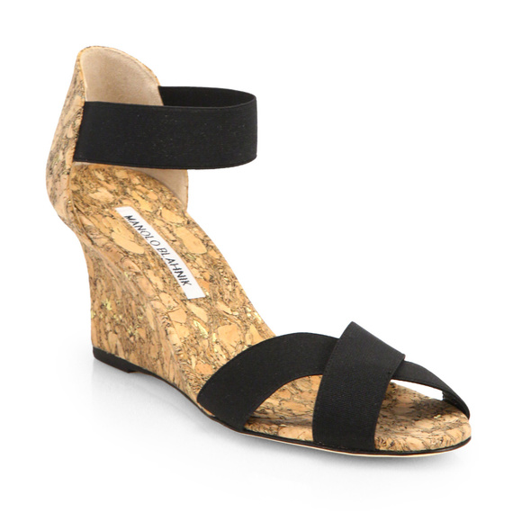 c48c3bdf06496 Manolo Blahnik Shoes | Black Veggia Crisscross Wedge 375 | Poshmark